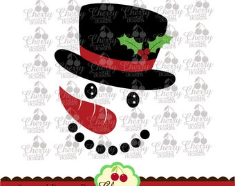 Christmas Snowman Face SVG DXF, Snowman Silhouette Cut Files, Cricut Cut Files CHSVG32 -Personal and Commercial Use
