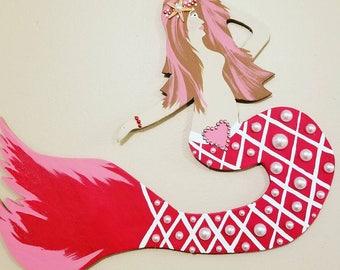 SALE! Venus, Valentine Mermaid! X'S & O's tail (pearl O's) Hand crafted Mermaid-hand cut wood! Swarovski headband, ring, FREE Mermaid Vinyl!
