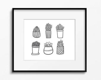 Succulents 8x10 printable - digital download- black and white art - kitchen decor - nature art - home office decor - printable plant art