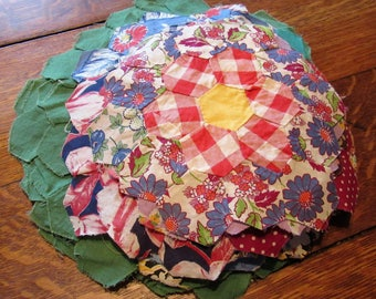 44 vintage feed sack fabric grandma's garden quilt pieces