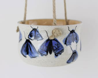 Blue moth porcelain hanging indoor planter, handmade ceramic, small