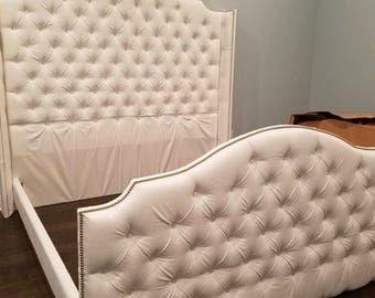 Velvet Crystal Diamond Tufted Headboard And Upholstered Bed - Diamond tufted steel grey velvet wingback headboard king extra tall