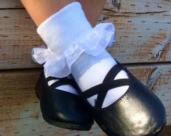 Ruffle Socks - Sheer organza double layer ruffle