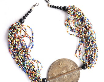 Colorful Boho Beaded Ethnic Mauritania African Big Brass Medallion Statement Necklace