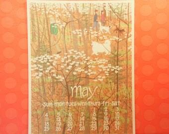 1990s Nikki Schumann May Calendar Poster
