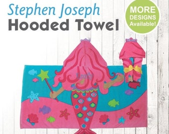 SALE Mermaid Hooded Towel, Stephen Joseph Hooded Towel, Kids Beach Towel, Hooded Bath Towel, Sea Creature Towel, Hooded Towel for Kids