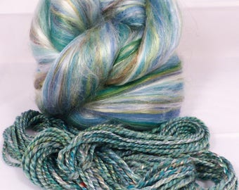 Sea Glass  -( 4 oz.)  Custom blended top - Seacell/  Merino / Silk / Rainbow Firestar ( 25/25/35/15 )