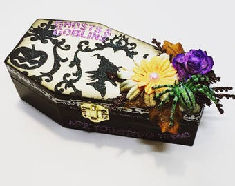Halloween Coffin Decoration, Wood Coffin, Halloween Decor, Coffin Box, Decorative Halloween Box