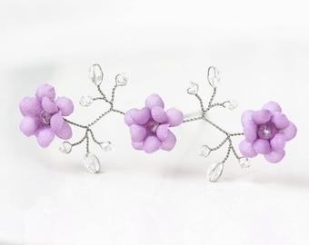 82_Purple flower hair pin, Silver crystal hair pin, Lilac bridal hair accessory, Wedding hair pin, Purple bridal pin, Lilac floral hair pin.