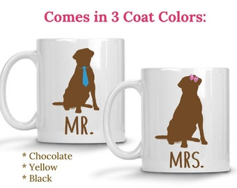 Labrador Mr and Mrs Engagement Gifts for Couple Mugs Dog Lover Gift Coffee Mugs Housewarming Gifts for Him Gifts for Her Unique Wedding Gift