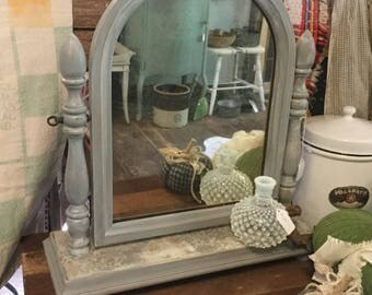 Antique Solid Wood Shaving Mirror,Chalk Painted Mirror