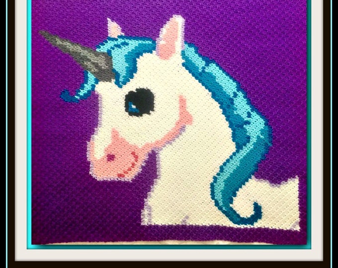 Featured listing image: Unicorn Afghan, C2C Graph, Written Word Chart