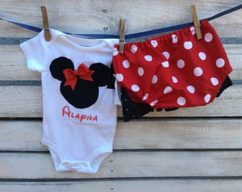 Minnie  Mouse Outfit,  Minnie Diaper Cover, Minnie Mouse One Piece with Diaper a Cover, Minnie Mouse Birthday Outfit