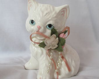 Vintage Porcelain Kitten Cat White 1960s Cat Blue Eyes
