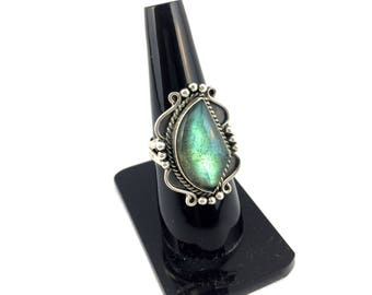 925 Sterling Silver Flashy Labradorite Gemstone oxidised Ring , Fancy Shape vampire diaries style Hand made jewelry gem stone Ring damon