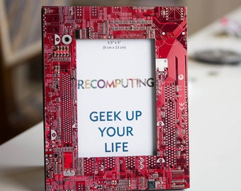 Picture frame, red circuit board photo frame, gift for computer geek, nerdy gift