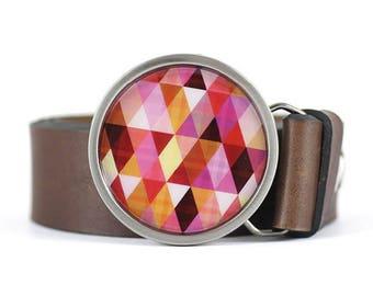 Geometric Belt Buckle, Womens belt buckle, Triangles belt buckle, pink belt buckle, gift for her