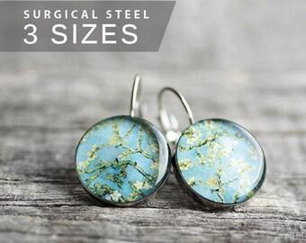 Floral earrings, Surgical steel earrings, Van Gogh dangle earring, blossom earring, blue earring