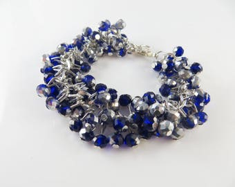 Blue and silver cha cha bracelet