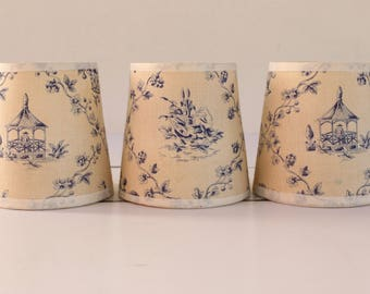 """French Vintage Clip on Lampshades...THREE shades...Toile De Jouy Pattern...Blue Pattern on Ecru Ground...3.1/2"""" x 3.1/2"""""""