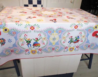 Vintage Tablecloth Traditional Austrian Folk Motif Multicolored Cotton Polyester 61 x 58