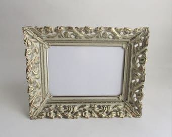 Vintage Picture Frame Gold Tone Ivory Pierced Metal Table Top Frame Wall Hanging