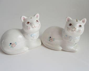 Vintage Cat Salt and Pepper Shakers White Pink Roses
