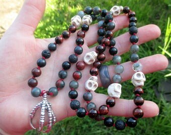 Carrion Crow Pagan Prayer Beads with Red Tiger Eye, Obsidian, Bloodstone, White Skulls, & Silver Claw / 72 Mala / Devotional Necklace