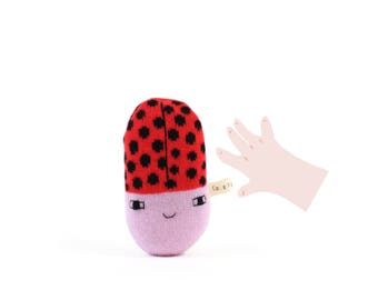 Ladybug Baby Rattle - soft knitted baby toy, new baby gift, baby shower gift
