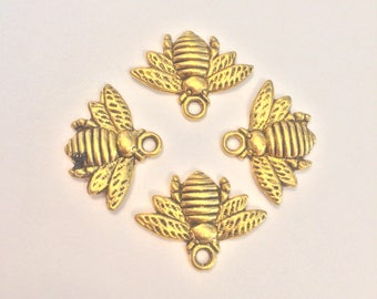 Honey Bee Charms Gold