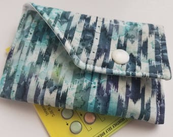 Birth Control Case Sleeve with Snap Closure -Blue streaks
