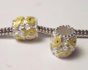 3 Beads - Light Yellow Awareness Ribbon Barrel Silver European Bead Charm E0989