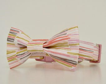 Pink Gold Metallic Striped Bow Tie Dog Collar Easter Collar Wedding Accessories Made to Order