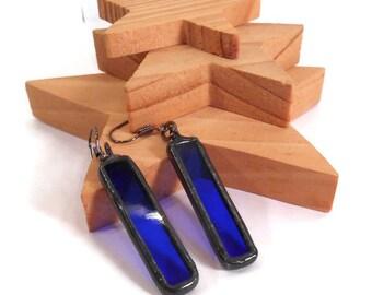 Blue Earrings Stained Glass Earrings Long Rectangle Earrings Glass and Metal Earrings Handmade Jewelry Unique Blue Earrings Dangle Earrings