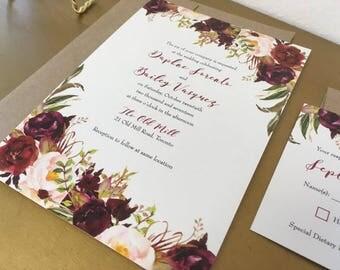 Burgundy Fall Flowers Wedding Invitation Suite
