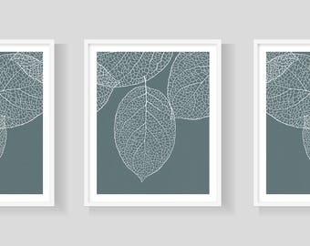 Digital Download 8x10 Blue Green Leaf Print Set of 3