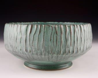 Texture Bowl - Green Stoneware Bowl - Handmade Bowl - Green Bowl - Serving Bowl - Centerpiece Bowl - Textured Bowl - Wedding Gift