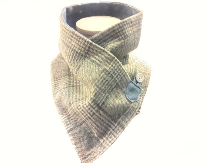 Gray Wool Plaid Neck Warmer with Soft Fleece Liner, Wool and Fleece Crossover Scarf, Upcycled Gray Wool Neck Wrap, Eco Friendly gift