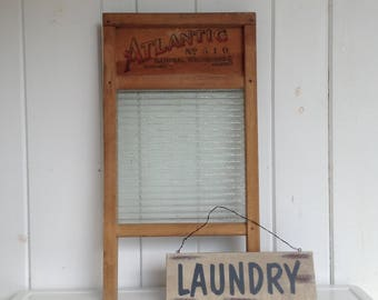 Atlantic National Washboard Co. No. 510 Glass Washboard Vintage Laundry Room Decor