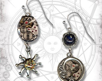 Sun and Moon Steampunk Asymmetrical Dangle Earrings - Za Dee Da - The Mystic Seeker Collection - Daytime to Nighttime Earrings