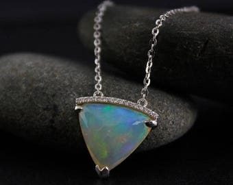 ON SALE Bail-Free White Opal and Diamond Necklace – October Birthstone- 14kt White Gold