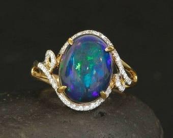 ON SALE Vibrant  Natural Australian Black Opal Ring - Blue Flash Opal - Diamond Setting - 18kt Yellow Gold