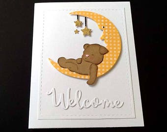 Welcome BABY Bear and Moon Card