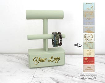 Custom Logo Bracelet Displays, Wood Bracelet Holders 2-Tier, Bracelet Stands, Jewelry Stands, Craft Show Displays, Booth Displays