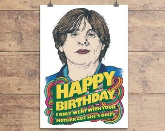 Shaun Ryder - Happy Mondays Greeting Card - Kinky Afro - Birthday Card - Funny Birthday Card