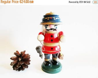 SUMMER SALE - Small Vintage Wooden Incense Smoker Man, Red Policeman Officer, Incense Burner Smoker Man + FREE Box German Incense cones