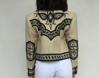 Amazing 60s black and cream embroidered cropped jacket