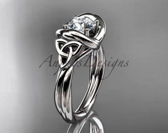 14kt white gold trinity celtic twisted rope wedding ring RPCT9146