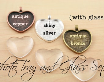 100 SETS Blank 1 inch Heart Pendant Trays and Glass Dome Set -  Heart  Silver, Antique Copper, Antique Bronze 25 mm Photos Charms