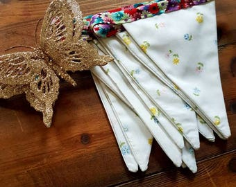 Fabric Bunting, cottage chic, baby bunting, Wedding Banner, Baby Shower Flag Garland, vintage bunting for party and event